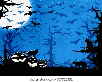 Halloween party blue vertical background, trees, bats, cats and pumpkins