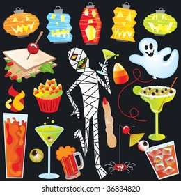 Halloween Party Clip Art with finger sandwich and creepy cocktails