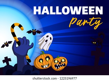 Halloween party concept background. Cartoon illustration of halloween party concept background for web design