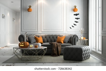 Halloween party in living room - decorations with lanterns and pumpkins , jack-o-lantern, modern classic style, 3D render 3D illustration