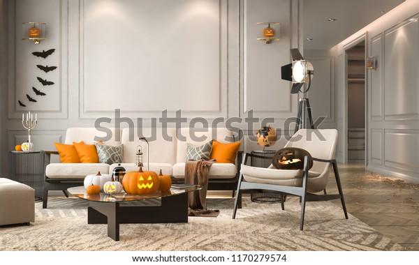Halloween Party Living Room Decorations Lanterns Stock