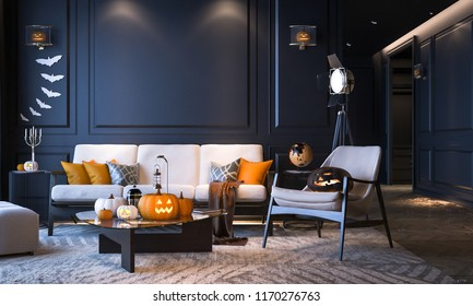 Halloween party at night, in living room - decorations with lanterns and pumpkins , jack-o-lantern, modern classic style, Halloween 2018, 3D render 3D illustration