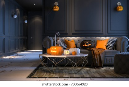Halloween party at night, in living room - decorations with lanterns and pumpkins , jack-o-lantern, modern classic style, 3D render 3D illustration