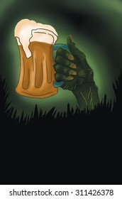 Halloween party, zombie hand holding mug of beer with foam, copy space