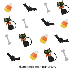 Halloween pattern with cats, candy corn, bones and bats