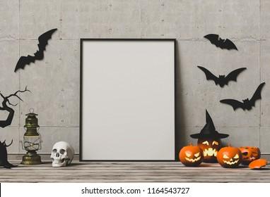 Halloween poster mock up in living room and pumpkins , jack-o-lantern. 3D render