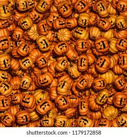 Halloween pumpkin background / 3D illustration of evil grinning carved halloween pumpkins in huge pile