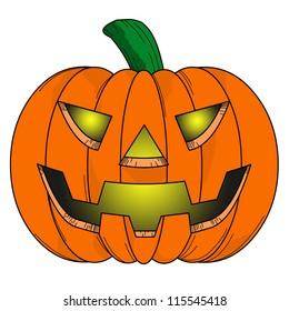 Halloween Pumpkin comic on white background.