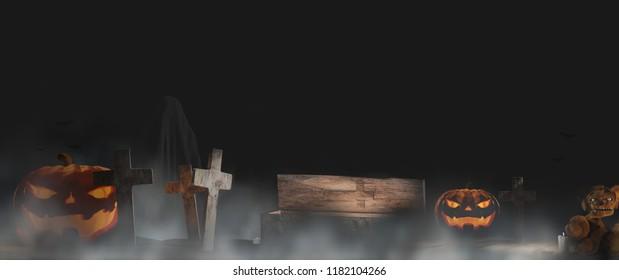 Halloween pumpkin fog and graveyard background 3d-illustration