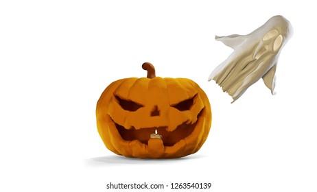 Halloween pumpkin and ghost 3d-illustration