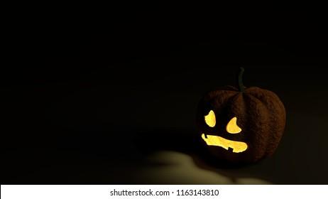 Halloween Pumpkin guilty face on black ground, 3D rendering