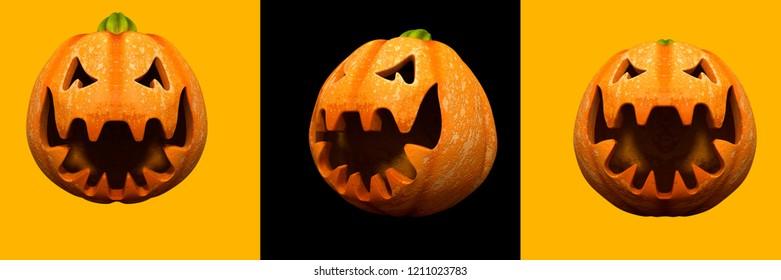 Halloween pumpkin head jack lanterns background