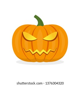 Halloween pumpkin icon. Pumpkin with scary face.