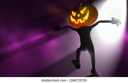 halloween pumpkin man fear concept 3d rendering illustration