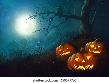 Halloween pumpkin night illustration  paintig dark fantasy horror in the grass and scarecrow full moon