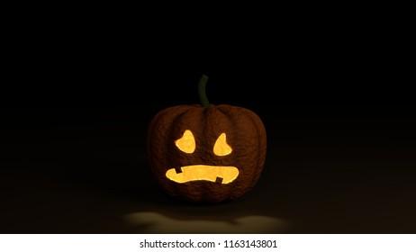 Halloween Pumpkin on black ground, 3D rendering