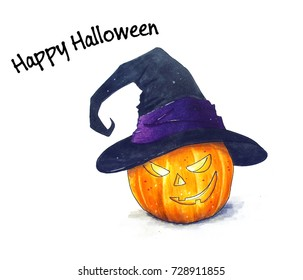 Halloween pumpkin sketch illustration on white