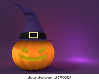 HALLOWEEN PUMPKIN WITCH HAT PARTY SPOOKY OCTOBER HORROR SCARY MOCKUP 3D ILLUSTRATION