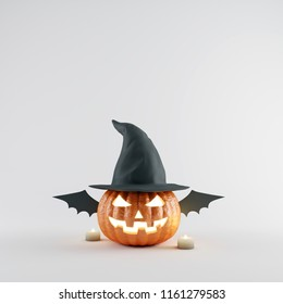 Halloween Pumpkin with wizard hat and bat wings on white bright background. 3d rendering