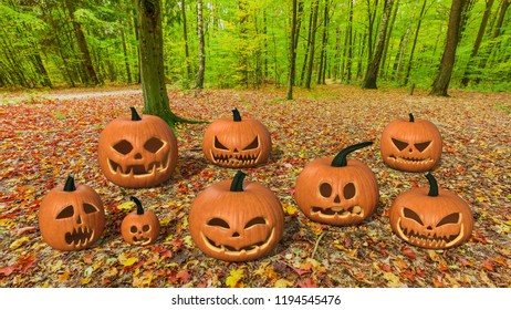 Halloween pumpkins in forest, bunch of pumpkins with leaves in woods, 3D rendering