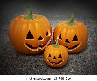 Halloween pumpkins with funny smiling faces. 3D illustration.