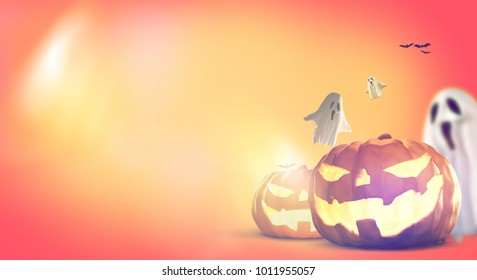 Halloween Pumpkins and ghosts and bats 3d rendering