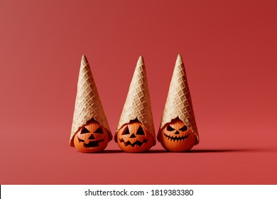 Halloween pumpkins. Jack O Lantern with cone ice cream hat on red background. Creative idea minimal concept. 3d rendering