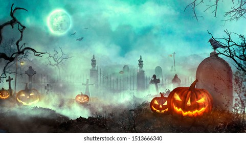 Halloween pumpkins on the graveyard. Halloween design with Jack O' Lantern 3D illustration