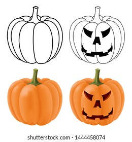Halloween pumpkins. Orange 3d illustration and outline drawing isolated on white background. Raster version