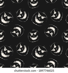 Halloween raster seamless pattern. Black and white abstract texture with scary pumpkin face, Jack o lantern silhouette. Simple monochrome background. Creepy dark design for decor, print, wallpapers
