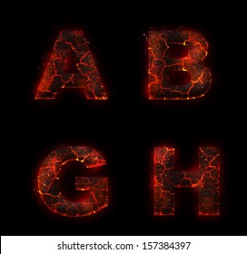 Halloween red burning fire fonts isolated on dark background