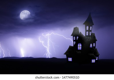 Halloween scary backgorund with haunted house and lightnings