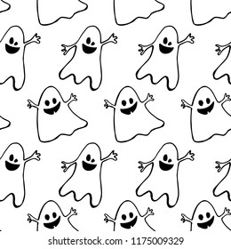 Halloween seamless background with funny ghosts. Seamless black and white pattern. Good for packaging design, halloween packaging paper, thematical background