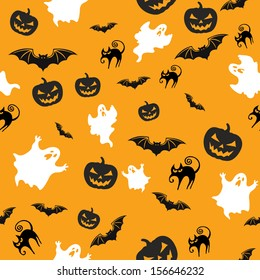 halloween seamless background with pumpkins bats cats and ghosts