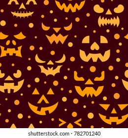 Halloween seamless pattern. horror face illustration. Evil scary spooky eyes, angry ghost teeth background. Season celebration symbol. Print, wrapping, packaging design. Banner invitation party