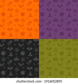 Ensemble de motifs harmonieux d'Halloween. Icônes de couleur : crâne, araignée, toile, citrouilles, chaudron. Éléments de design pour l'affiche de la fête d'halloween. Illustration à plat. Objets isolés sur fond blanc.