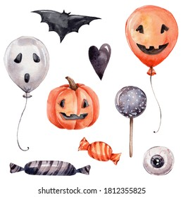 Halloween set with balloons, bat, sweets, black heart, pumpkin and eye; watercolor hand draw illustration; can be used for party or posters; with white isolated background