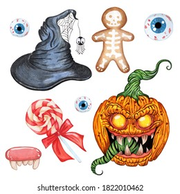 Halloween set. Witch hat, demon pumpkin, evil sweets and eyes. Isolated on white background. Watercolor illustration.