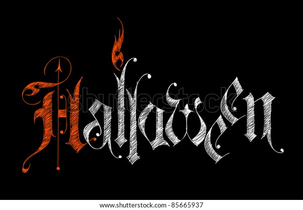 Halloween - sketch gothic letters on black background. Bitmap copy my vector ID 62864173