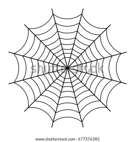 Halloween spider web black outline on stock illustration - Spider outline clip art ...