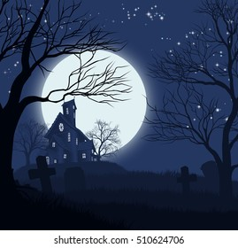 A Halloween spooky haunted house and graveyard background