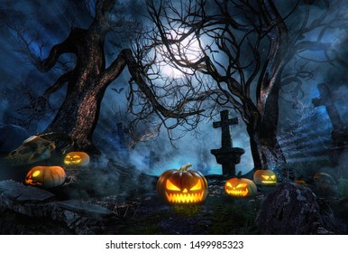 Halloween spooky traditional pumpkins on dark misty night forest with blue fog. Creepy cemetery, old crosses, moon, bats, mystical light in horror background. 3D halloween pumpkins card design concept