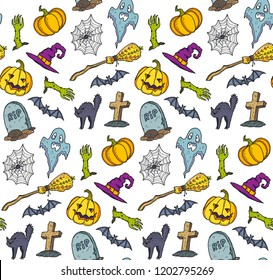 Сolorful Halloween symbols in cartoon style vector seamless pattern.