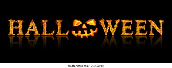 Halloween text - old jack-o-lantern on black background