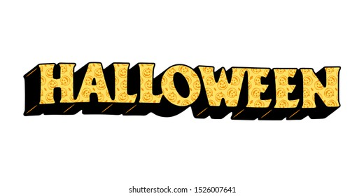 HALLOWEEN TEXT WITH PUMPKIN PATTERN COLOR