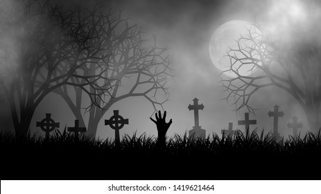 Halloween theme concept with zombie hand on graveyard in scary cemetery, coverd with fog in creepy forest under the Moon, illustration design background.
