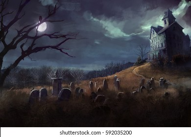 halloween theme with grave yard, and a house at night
