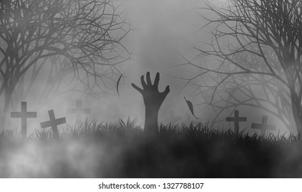 Halloween theme with hand of zombie in cemetery among fog in creepy forest illustration design background.