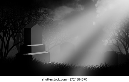 Halloween theme with ray of light shine on giant tombstone over graveyard on hill.