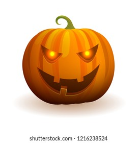 Halloween traditional pumpkin with evil, lights in eyes and spooky smile isolated cartoon raster illustration on white background.